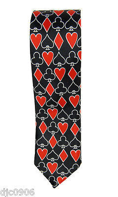 "Poker Red White Black Spades,Clubs,Diamond,Hearts Neck tie 56"" L x 2"" W-Neck Tie"