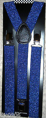BG Blue Sequin Adjustable Bow Tie & Blue Glittered Adjustable Suspenders Set