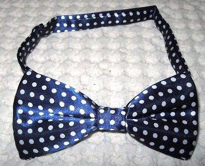 Navy Blue with White Polka Dot Adjustable Bow Tie & Navy Blue Suspenders Combo