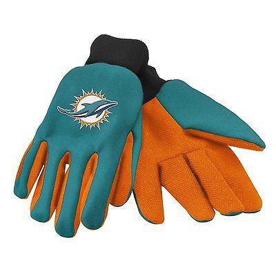 Miami Dolphins Green/Black Raised Team Logo Licensed NFL Sport Utility Gloves