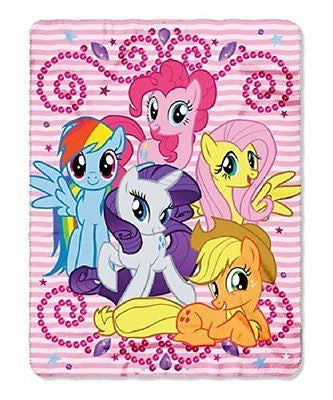 "My Little Ponies Sparkle Fleece Blanket/Throw 46"" x 60""-My Little Pony Throw-New"