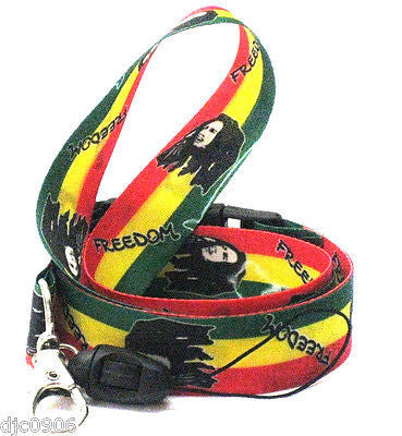 "12 (dozen) Bob Marley Portraits Rasta(green/yellow/red) 15"" Lanyard ID Holders"
