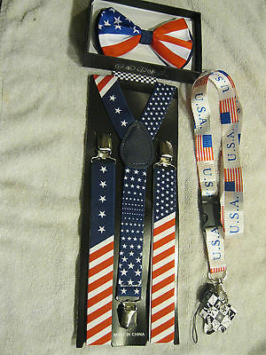 US Flag Patriotic Red White Blue Stripes Suspenders & matching Bow Tie-New