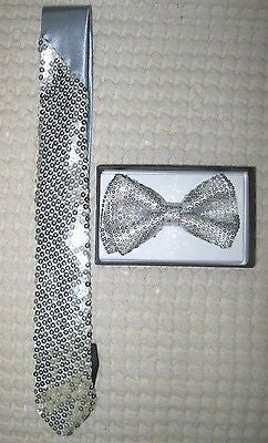Silver Gray Sequin Neck tie & Gray Silver Sequin Adjustable Bow tie Combo Set-v2