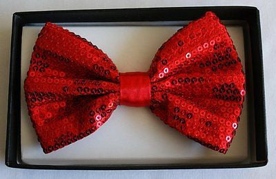 Unisex RED Sequin Tuxedo Classic BowTie Neckwear Adjustable Bow Tie-New in box