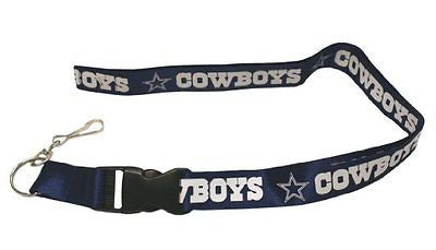 Cowboys Shiny Silver Licensed NFL Keychain/ID Holder Detachable Lanyard-New!