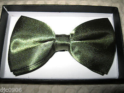 ARMY NAVY SHINY DARK GREEN  ADJUSTABLE  BOW TIE BOWTIE-GREEN BOW TIE-NEW IN BOX!