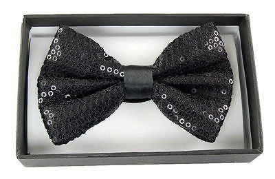 Unisex BG BLACK Sequin Tuxedo Classic BowTie Neckwear Adjustable Bow Tie-New2