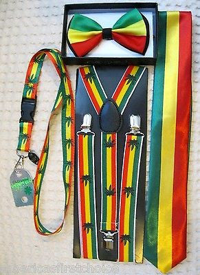 Rasta Stripes Bow Tie,RASTA Adjustable Suspenders,& Rasta Lanyard Combo-NEW