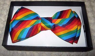 GAY PRIDE RAINBOW STRIPED STRIPES ADJUSTABLE BOW TIE BOWTIE-NEW GIFT BOX!VERS3