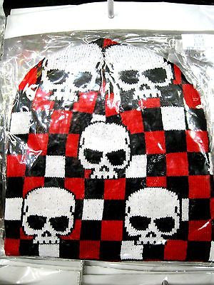 White Skulls on Red Black White Checker Winter Knitted Skull Beanie Ski Cap-New!