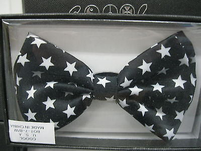 BLACK WITH WHITE STAR PATTERN ADJUSTABLE BOW TIE-NEW!STARRED STARS BOW TIE