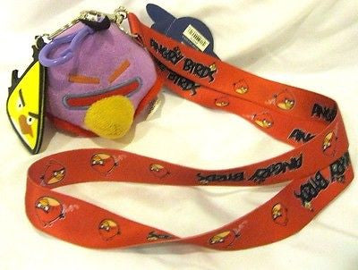 "Rovio Thick Red Angry Birds Lanyard ID Holder Keychain with 3"" Plush+Charm-New!"