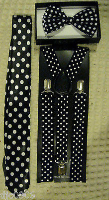 Black White Polka Dot Bow Tie,Tie,&White Polka Dot Adjustable Y-Back Suspenders