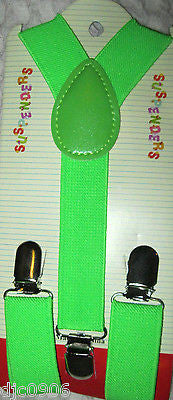 White Kid's Boys Girls Y-Style Back Adjustable Bow Tie & Green Kid suspenders