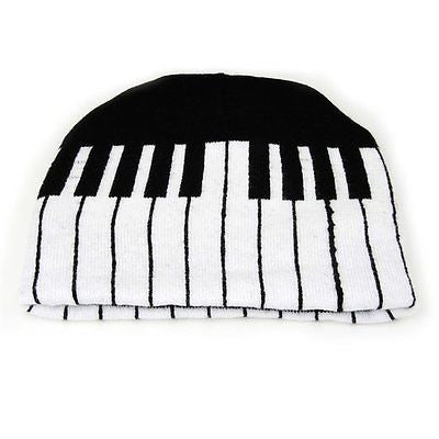 Large White & Black Musical Piano Keyboard Beanie Ski Hat Cap Beanie Style-New!