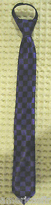 "Teens Black & White Checkered Diamonds Adjustable 14"" Pre-tied Necktie-New!"