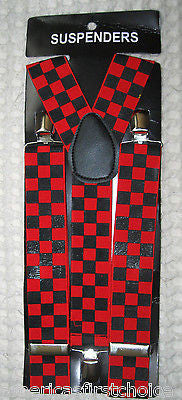 "BLACK AND RED CHECKER DIAMONDS  ADJUSTABLE 1 1/4"" 1 1/2"" WIDE SUSPENDERS-NEW!"