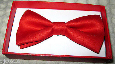 KID'S UNISEX RED SOLID COLOR RED TUXEDO ADJUSTABLE BOWTIE BOW TIE-NEW WITH BOX!