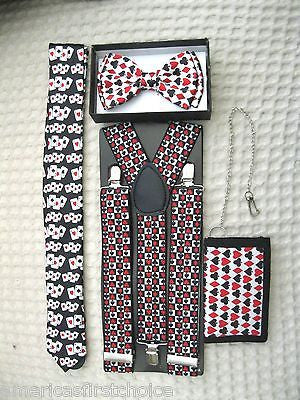 Poker Player Cards Adjustable Bow Tie,Poker Neck Tie, and Poker Wallet-New