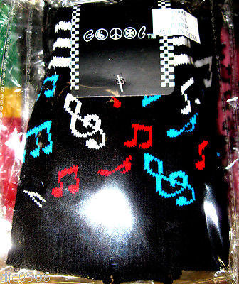 MULTI-COLOR MUSICAL NOTES ON BLACK CUTOFF KNIT FINGERLESS WINTER GLOVES-NEW!