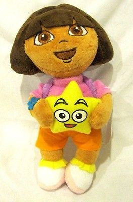 Dora the Explorer Plush holding Star Wearing Purple Mr Backpack Soft Stuffed Toy