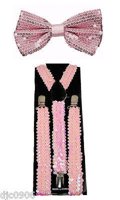 PINK Sequin Adjustable Bowtie & PINK Sequin Adjustable Suspenders Combo-New!