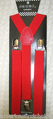 Red Paisley Tuxedo Bow Tie & Solid Red Adjustable Suspenders Combo Set-New