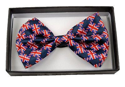 BRITISH SMALL FLAGS RED WHITE BLUE BRITISH ADJUSTABLE  BOW TIE BOWTIE-NEW!