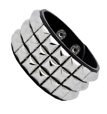 Black with White Crack line Checkered Studded Black Leather Bracelet-Brand New!