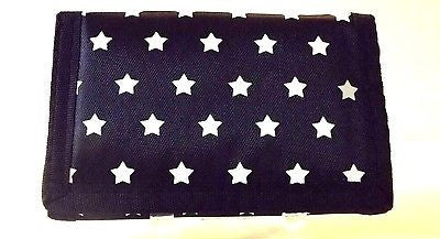 "Black with White STARS Wallet Unisex Men's 4.5"" x 3"" W-New in Package!"