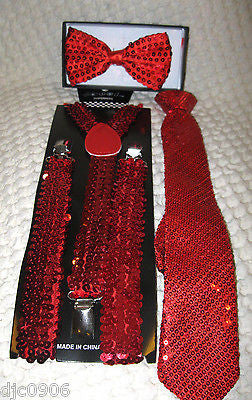 Bright Red Adjustable Bow Tie & Bright Red Adjustable Suspenders Combo Set-New!