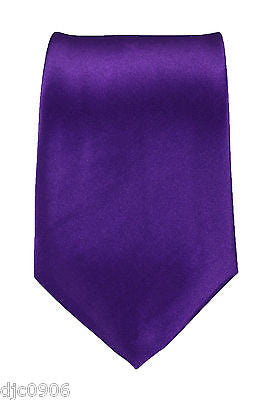 "Unisex Dark Purple Silk Feel Neck tie 56"" L x 3"" W-Purple NeckTie-New"