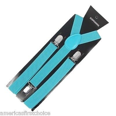 Unisex Light Blue French Blue Y-Back Style Back Adjustable suspenders-New in Pk!