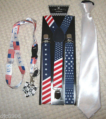 US Flag American Flag Suspenders,US Flag Lanyard&Solid White Pre-Tie NeckTie-New