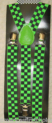 Neon Green Texedo Bow Tie & Green Checkers Adjustable Suspenders Combo-New