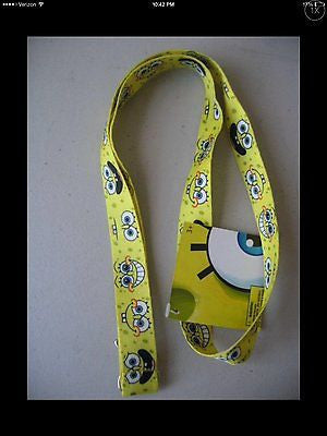 "SpiongeBob Funny Faces Yellow 15"" lanyard-sponge bob lanyard-New With Tags!!!"