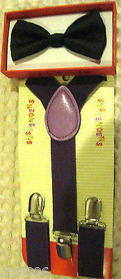 Solid Black Kids Boys Girls Y-Back Adjustable Bow Tie & Purple Kid suspenders