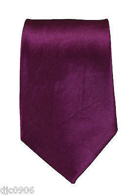 "Unisex Wine Purple Silk Feel Neck tie 56"" L x 3"" W-Wine Purple Tie-New"