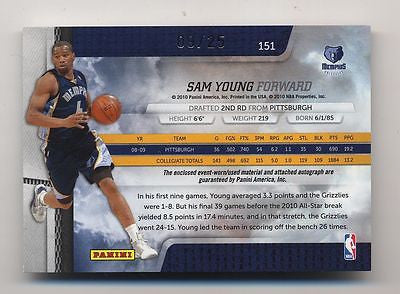 SAM YOUNG 2009-2010 PANINI ABSOLUTE RPM ROOKIE AUTO BALL JERSEY PATCH CARD#09/25