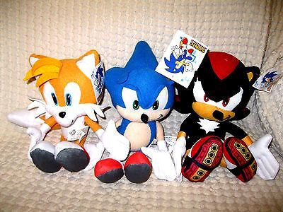 "Sonic the Hedgehog,Tails,Shadow Plush 10""-12"" Combo Plush Trio Set-New with Tags"