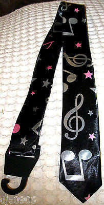 "Unisex Silver Musical Notes & Stars Neck tie 57"" L x 2"" W-Music Note Neck Tie"