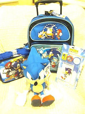 Blue Sonic the Hedgehog Rolling Backpack,Sonic Lunchbox,4pc Study Kit,&Plush