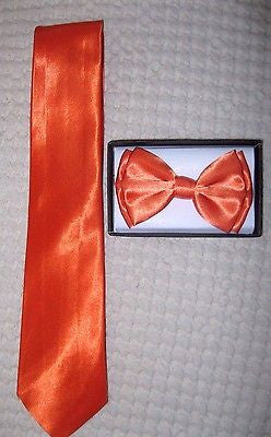 Solid Neon Orange Neck tie & Neon Orange Adjustable Bow Tie Combo Set! New!vers2