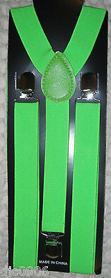 Neon Yellow Green Striped Adjustable Bow Tie & Neon Green Adjustable Suspenders