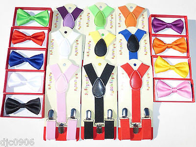 BOYS GIRLS KIDS CLIP-ON Y-Back Elastic Suspenders 1.5CM WIDTH Set of 8 all clrs