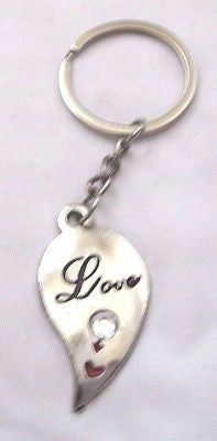 "3 1/2"" LOVE WITH HEART AND DIAMONIQUE STONE KEYCHAIN-TRUE LOVE KEY CHAIN-NEW!"