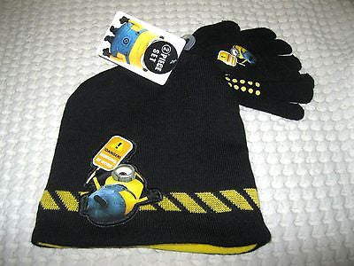 Disney Despicable Me 2 Stuart 3D Beanie Hat & Finger Gloves 2pc Set-Brand New!