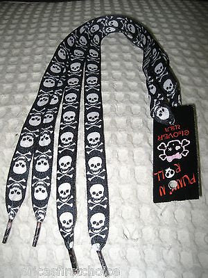 Premium Black with Pink Misfits Skulls Rockabilly Punk Shoe laces Shoelaces-New