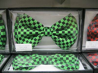 BLACK AND GREEN CHECKERED ADJUSTABLE  BOW TIE-NEW GIFT BOX!